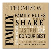 """""""Family Rules"""" Weathered Sign Canvas Wall Art"""