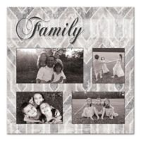 Grey Geometric Family Photo Canvas Wall Art