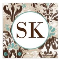 Damask Monogram Canvas Wall Art in Brown/Turquoise