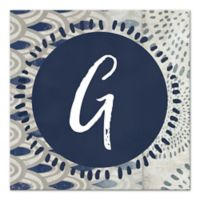 Letter Monogram Canvas Wall Art in Navy
