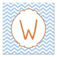 Blue Chevron Letter Canvas Wall Art