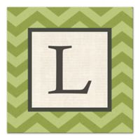 Green Chevron Letter Canvas Wall Art
