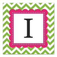 Green And Pink Chevron Letter Canvas Wall Art