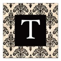 Black Damask Letter Canvas Wall Art