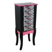 Teamson Kids Jewelry Armoire in Black/Pink Zebra