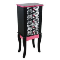 Teamson Kids Jewelry Armoire in Black/Pink Zebra