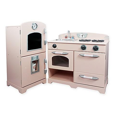 buy teamson kids 2 piece wooden play kitchen set in pink from bed bath beyond. Black Bedroom Furniture Sets. Home Design Ideas