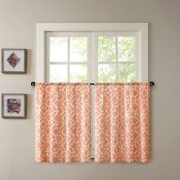 Madison Park Delray 24-Inch Printed Diamond Window Curtain Tier Pair in Orange