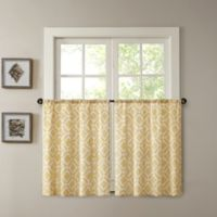Madison Park Delray 24-Inch Printed Diamond Window Curtain Tier Pair in Yellow