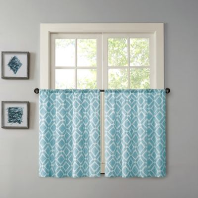 Madison Park Delray 24 Inch Printed Diamond Window Curtain Tier Pair In Blue