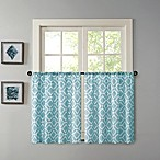 Madison Park Delray 24-Inch Printed Diamond Window Curtain Tier Pair in Blue