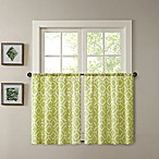 Madison Park Delray 24-Inch Printed Diamond Window Curtain Tier Pair in Green