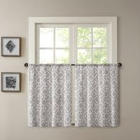 Madison Park Delray 24-Inch Printed Diamond Window Curtain Tier Pair in Grey