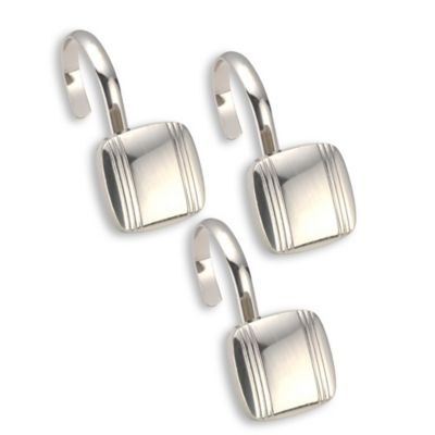 Highly Styled Metal Shower Curtain Hooks In Silver (Set Of 12)