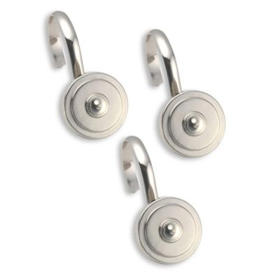decorative metal shower curtain hooks in silver set of 12