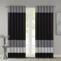Madison Park Amherst 84-Inch Rod Pocket/Back Tab Window Curtain Panel in Black