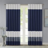 Madison Park Amherst 84-Inch Rod Pocket/Back Tab Window Curtain Panel in Navy