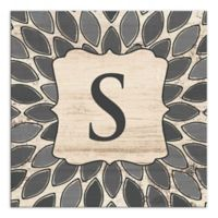 Leafies Letter Monogram Wall Art in Grey