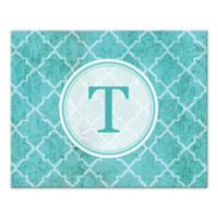 Teal Texture Letter Canvas Wall Art