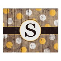 White And Gold Wood Letter Canvas Wall Art