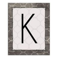 Wood Greige Quatrefoil Letter Canvas Wall Art