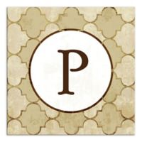 Bits of Gold Quatrefoil Monogram Letter Canvas Wall Art
