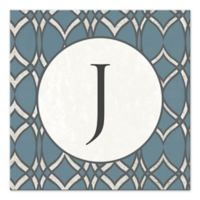 Geo Letter Canvas Wall Art in Blue/White