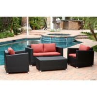 Abbyson Living® Hampton 4-Piece Outdoor Wicker Sofa Set in Black