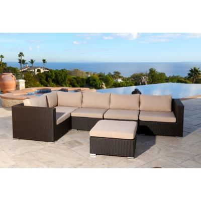 Abbyson Living® Newport 6 Piece Outdoor Sectional In Espresso