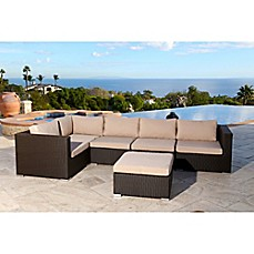 Abbyson Living Newport 6 Piece Outdoor Sectional In Espresso
