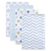 BabyVision® Luvable Friends® 4-Pack Dots Flannel Receiving Blankets in Blue