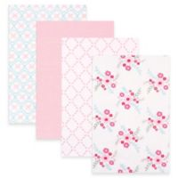 BabyVision® Luvable Friends® 4-Pack Floral Flannel Receiving Blankets in Pink