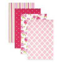BabyVision® Hudson Baby® 4-Pack Flannel Receiving Blankets in Pink/Rose