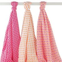 BabyVision® Hudson Baby® 3-Pack Ikat Muslin Swaddle Blankets in Pink