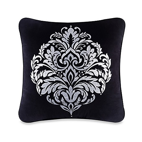 Queen Street Decorative Pillows : J. Queen New York Cambridge Damask Square Throw Pillow in Black - Bed Bath & Beyond