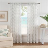 Nautical Anchor 108-Inch Rod Pocket Sheer Window Curtain Panel in White/Blue
