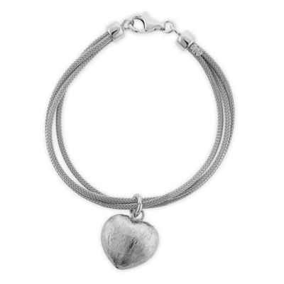 Studio 739 Sterling Silver 7.5-Inch Brushed Heart Charm Mesh Triple Strand Ladies' Bracelet