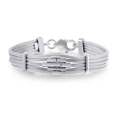Studio 739 Sterling Silver 7.5-Inch Diamond Bar Mesh Multi-Strand Ladies' Bracelet