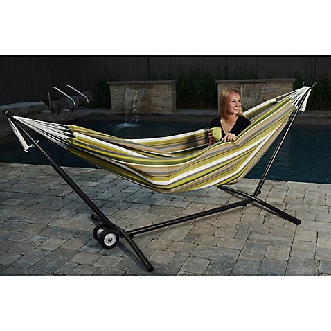 vivere 9 foot double hammock in sunbrella   fabric with stand vivere 9 foot double hammock in sunbrella   fabric with stand   bed      rh   bedbathandbeyond