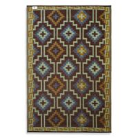 Fab Habitat Lhasa Diamonds Area 5-Foot x 8-Foot Area Rug in Royal Blue/Chocolate Brown
