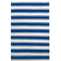 Fab Habitat Lucky Wide Stripe 6-Foot x 9-Foot Area Rug in Blue/White