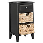 Safavieh Everly Drawer Side Table in Distressed Black