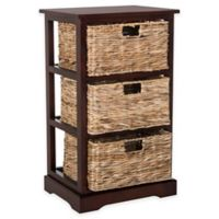 Safavieh Halle 3-Wicker-Basket Storage Side Table in Cherry