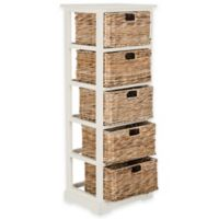 Safavieh Vedette 5-Wicker-Basket Storage Chest in Distressed White