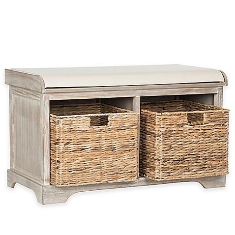 Buy safavieh freddy wicker storage bench in winter melody from bed bath beyond Rattan storage bench