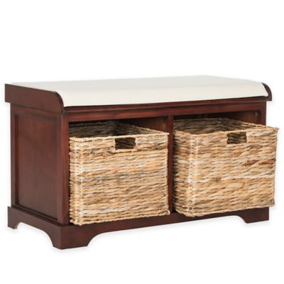 Safavieh Freddy Wicker Storage Bench In Cherry