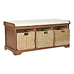 Safavieh Lonan Storage Bench in Walnut/White