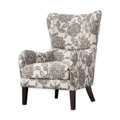Merveilleux Madison Park Arianna Swoop Wing Chair In White/Grey