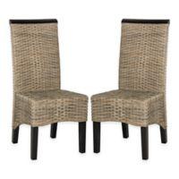 Safavieh Ilya Wicker Dining Chairs in Grey (Set of 2)