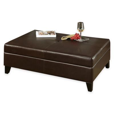 Abbyson Living® Frankfurt Flip-Top Storage Ottoman in Brown - Buy Brown Leather Storage Ottoman From Bed Bath & Beyond